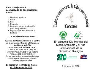 En saludo al Día Mundial del Medio Ambiente y al Año Internacional  de la Diversidad Biológica
