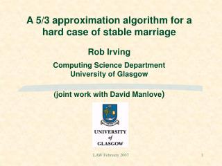The stable marriage  problem                               an example