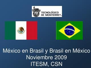 México en Brasil y Brasil en México Noviembre 2009 ITESM, CSN