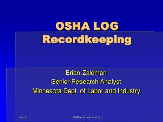 OSHA LOG Recordkeeping