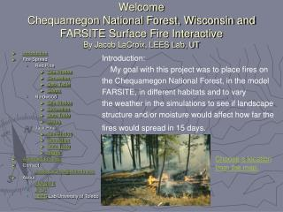 Introduction Fire Spread Red Pine Site Photos Simulation Data Table Graph Hardwood Site Photos