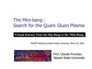 The Mini-bang :  Search for the Quark Gluon Plasma