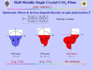Half-Metallic Single Crystal CrO 2  Films (JHU MRSEC)