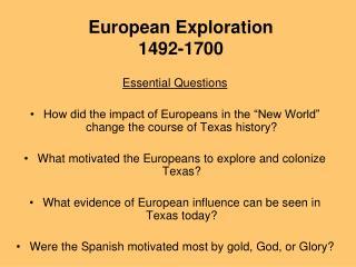 European Exploration 1492-1700