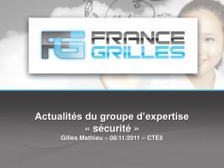 Actualités du groupe d'expertise «sécurité» Gilles Mathieu – 08/11/2011 – CTE8