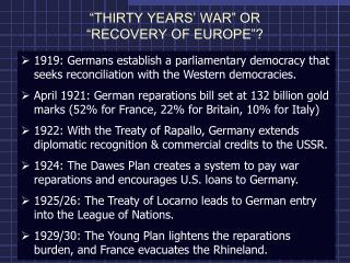 """THIRTY YEARS' WAR"" OR  ""RECOVERY OF EUROPE""?"
