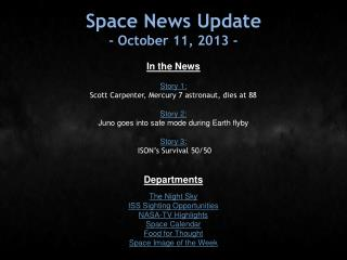 Space News Update - October 11, 2013 -