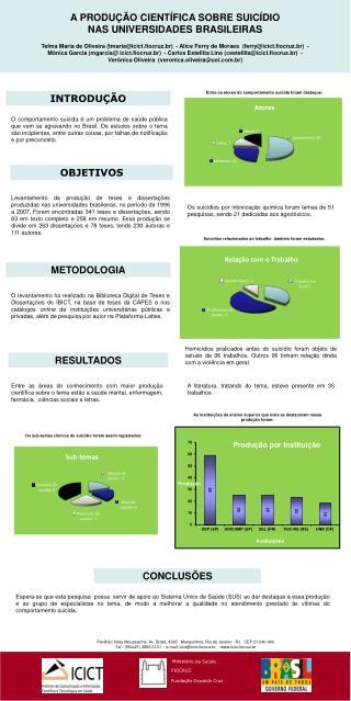 A PRODUÇÃO CIENTÍFICA SOBRE SUICÍDIO  NAS UNIVERSIDADES BRASILEIRAS