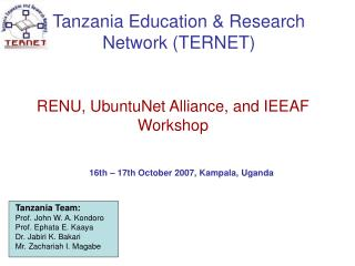 Tanzania Education & Research Network (TERNET)