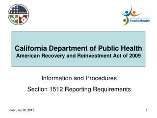 California Department of Public Health American Recovery and Reinvestment Act of 2009