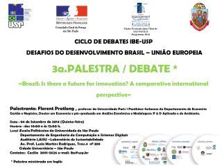 CICLO DE DEBATES IBE-USP  DESAFIOS DO DESENVOLVIMENTO BRASIL – UNIÃO EUROPEIA