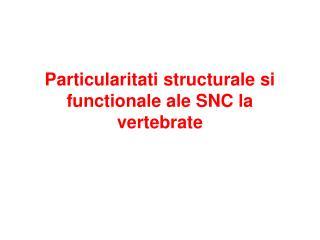 Particularitati structurale si functionale ale SNC la vertebrate