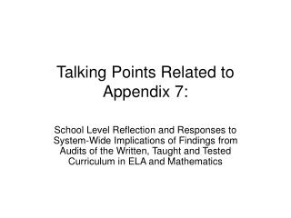 Talking Points Related to Appendix 7: