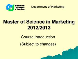 Master of Science in Marketing 2012/2013