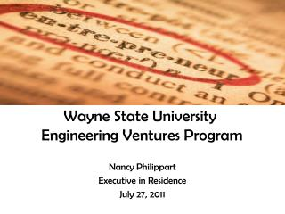 Wayne State University  Engineering Ventures Program