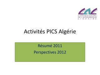 Activités PICS Algérie
