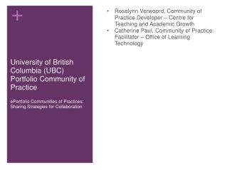 University of British Columbia (UBC) Portfolio Community of Practice