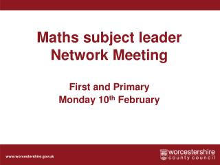 Maths subject leader Network Meeting