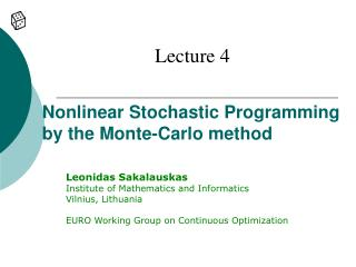 Nonlinear Stochastic Programming by the Monte-Carlo method
