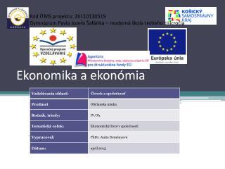 Ekonomika a ekonómia