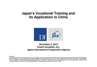 Japan's Vocational Training and its Application to China