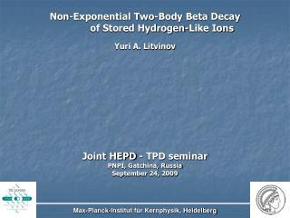 Non-Exponential Two-Body Beta Decay             of Stored Hydrogen-Like Ions