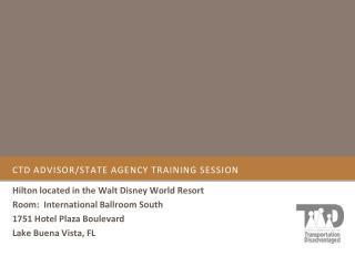 CTD Advisor/State agency training session