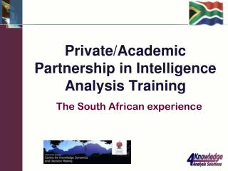 Private/Academic Partnership in Intelligence Analysis Training