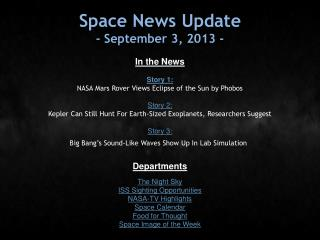 Space News Update - September 3, 2013 -