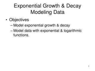Exponential Growth & Decay Modeling Data