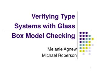 Verifying Type Systems with Glass Box Model Checking