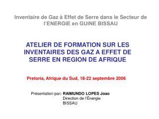 ATELIER DE FORMATION SUR LES INVENTAIRES DES GAZ A EFFET DE SERRE EN REGION DE AFRIQUE