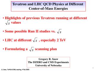 Tevatron and LHC QCD Physics at Different  Center-of-Mass Energies