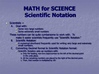 MATH for SCIENCE  Scientific Notation