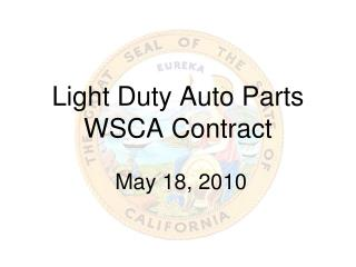 Light Duty Auto Parts WSCA Contract