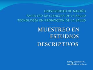 UNIVERSIDAD DE NARIÑO FACULTAD DE CIENCIAS DE LA SALUD TECNOLOGIA EN PROMOCION DE LA SALUD