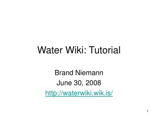 Water Wiki: Tutorial