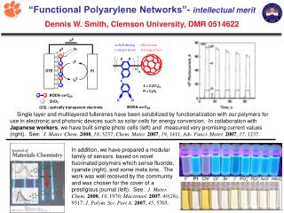 """Functional Polyarylene Networks""-  broader impacts Dennis Smith, Clemson University, DMR 0514622"
