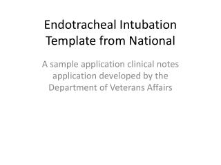 Endotracheal Intubation Template from National