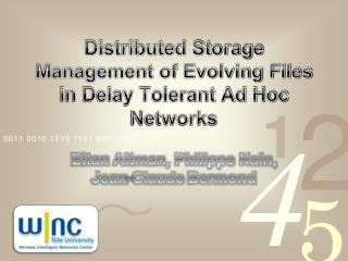 Distributed Storage Management of Evolving Files in Delay Tolerant Ad Hoc Networks