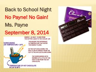 Back to School Night  No Payne! No Gain! Ms. Payne September 8, 2014