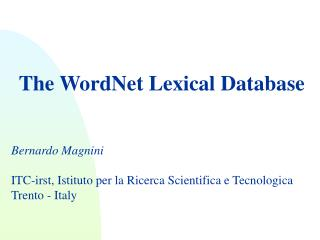 The WordNet Lexical Database