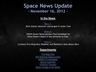 Space News Update - November 16, 2012 -