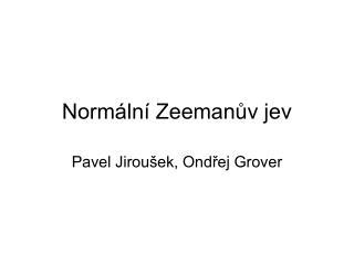 Normální Zeemanův jev