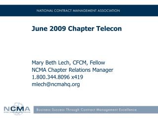 June 2009 Chapter Telecon