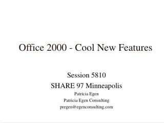 Office 2000 - Cool New Features