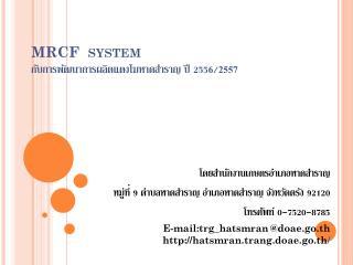 MRCF  system กับการพัฒนาการผลิตแตงโมหาดสำราญ ปี  255 6 / 2557