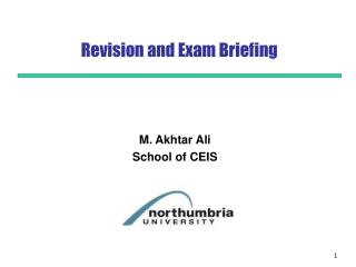 Revision and Exam Briefing
