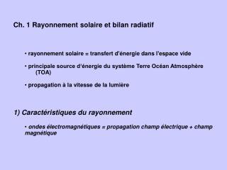 Ch. 1 Rayonnement solaire et bilan radiatif