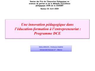 Une innovation p dagogique dans  l  ducation-formation   l entrepreneuriat : Programme DCE